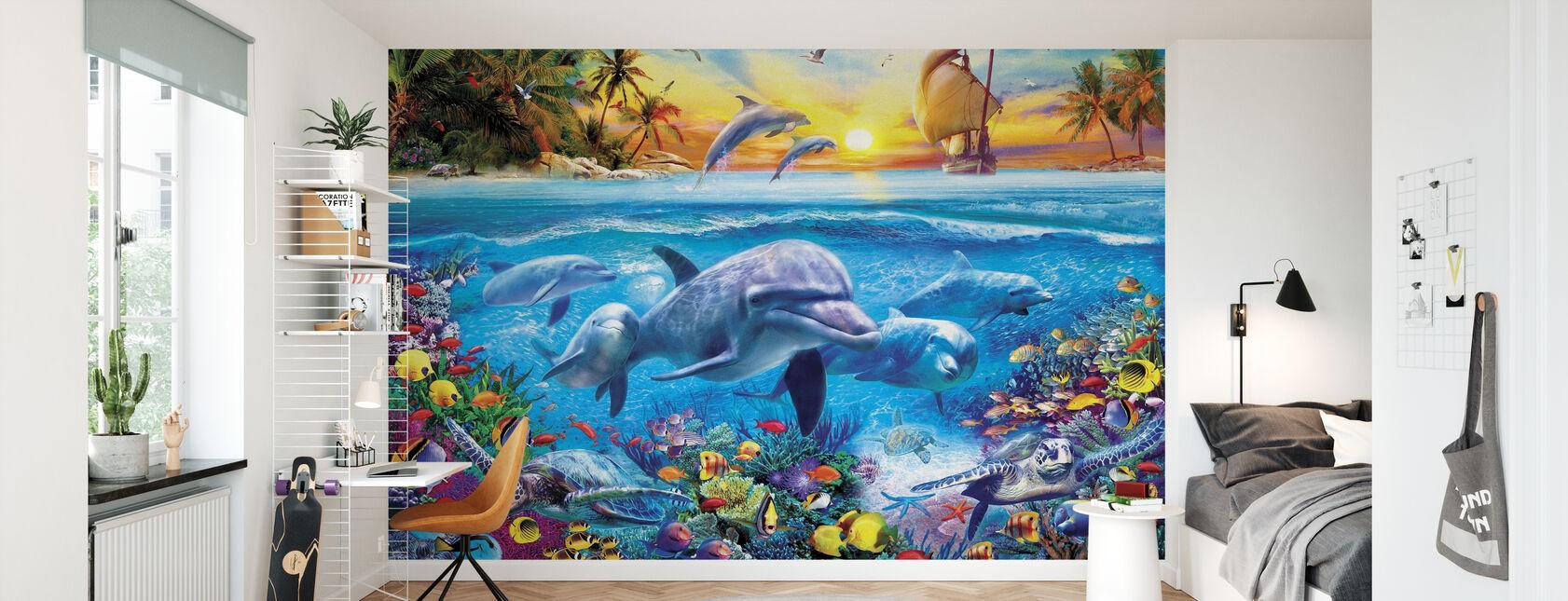 Delfini e Nave - Carta da parati - Camera dei bambini