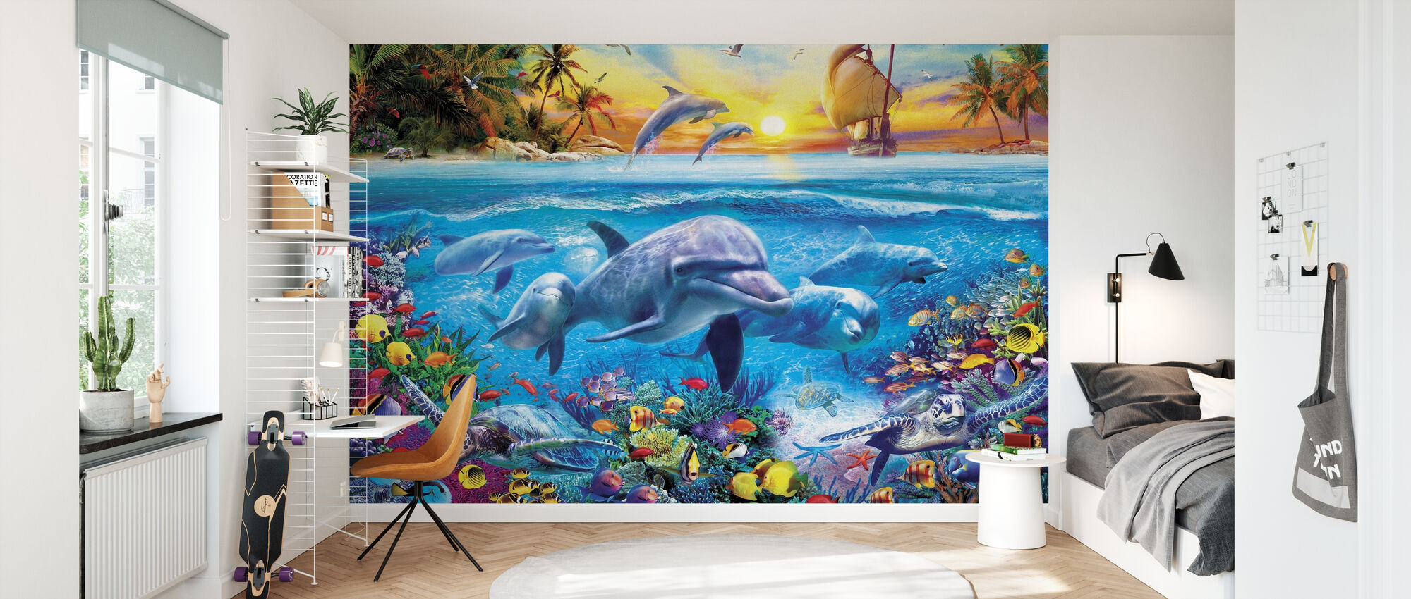 Dolphins and Ship - Wallpaper - Kids Room