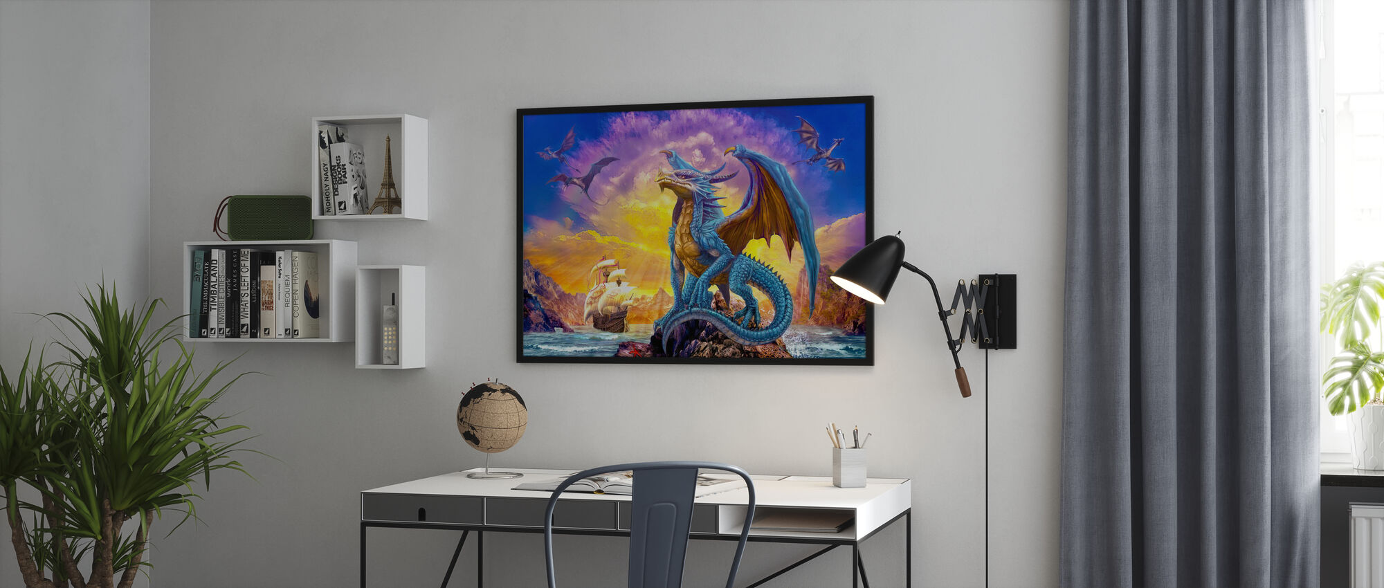 Dragons and Ship - Framed print - Office