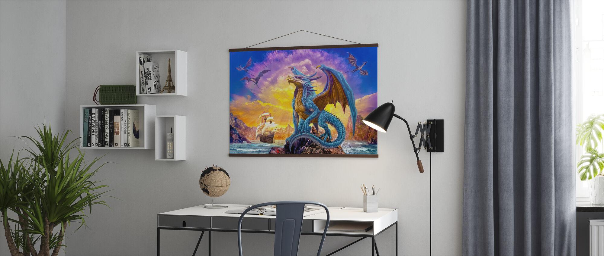 Drachen und Schiff - Poster - Büro