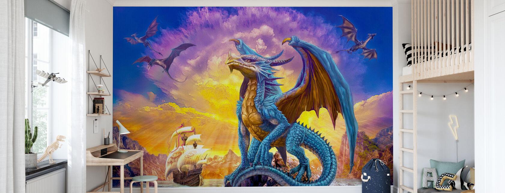 Drachen und Schiff - Tapete - Kinderzimmer