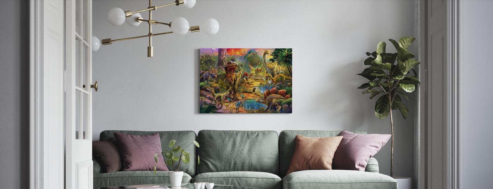 Landschap van Dinosaurussen - Canvas print - Woonkamer