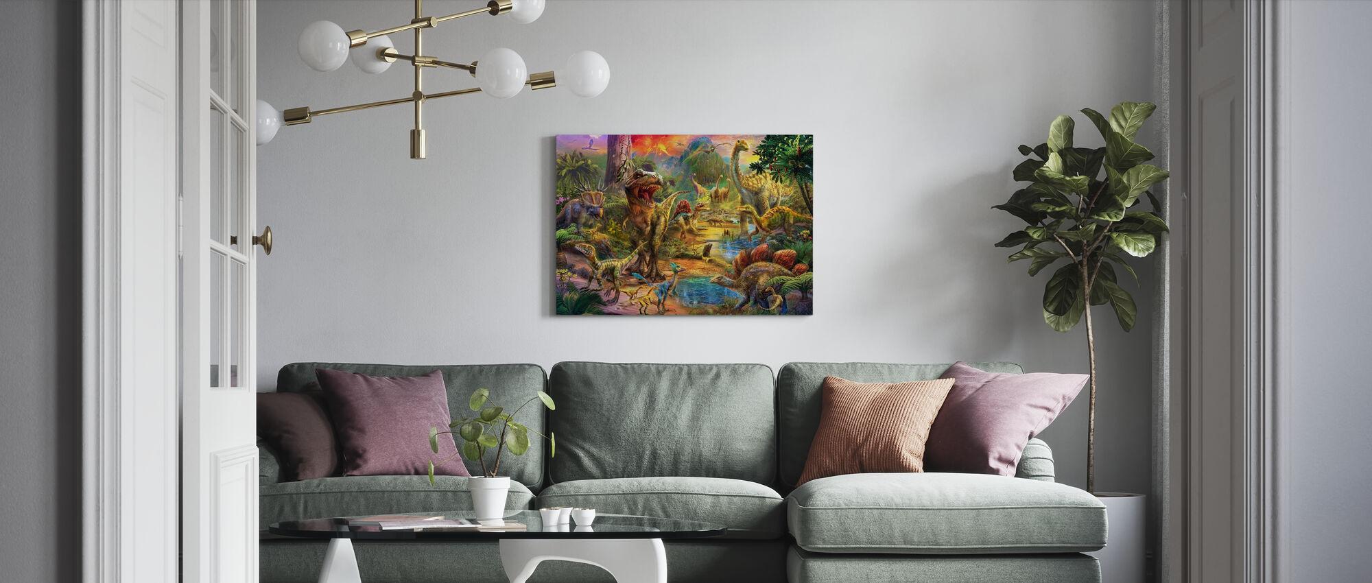 Landschaft der Dinosaurier - Leinwandbild - Wohnzimmer