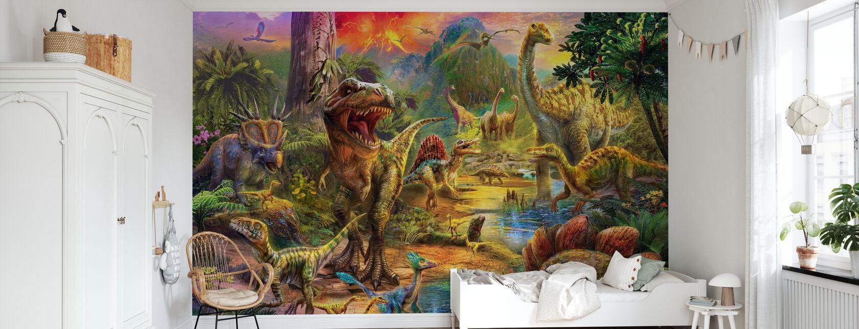 Landskap av dinosaurier - Tapet - Barnrum