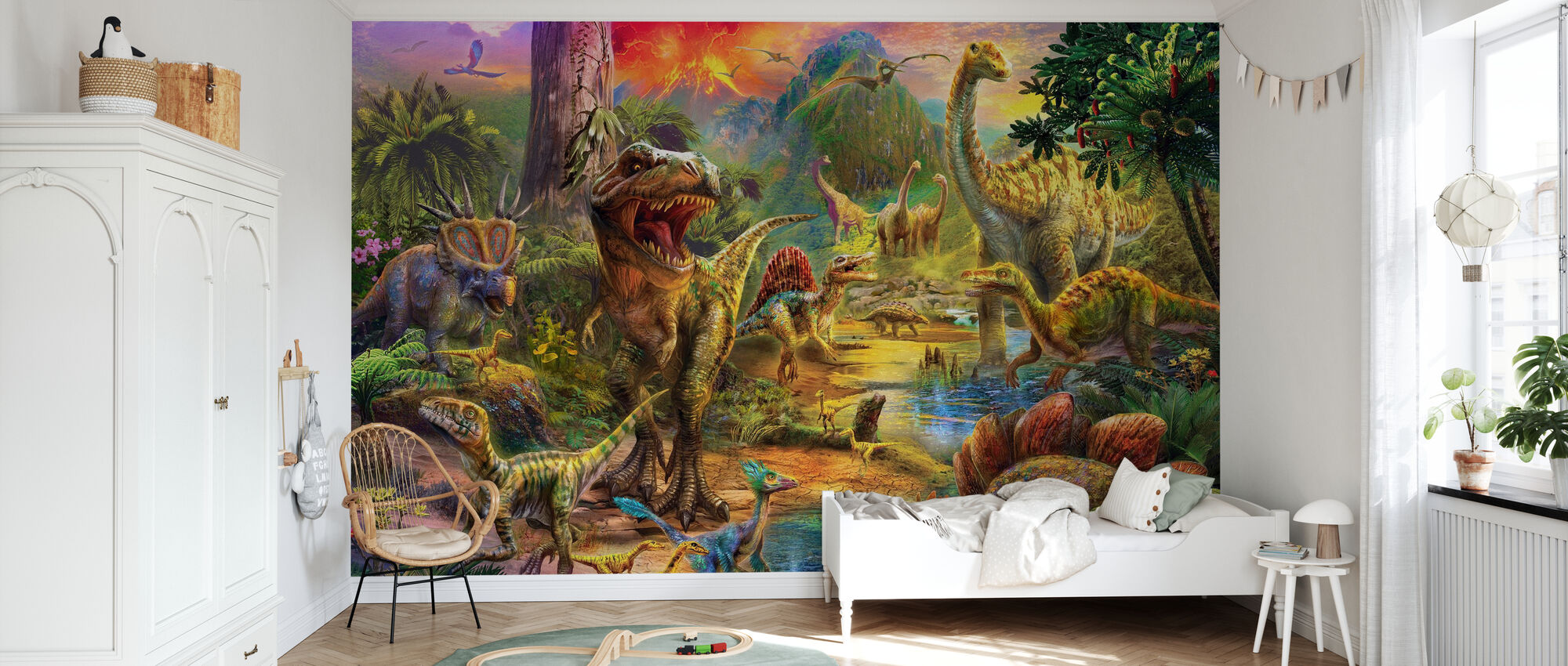 Landscape of Dinosaurs - Wallpaper - Kids Room