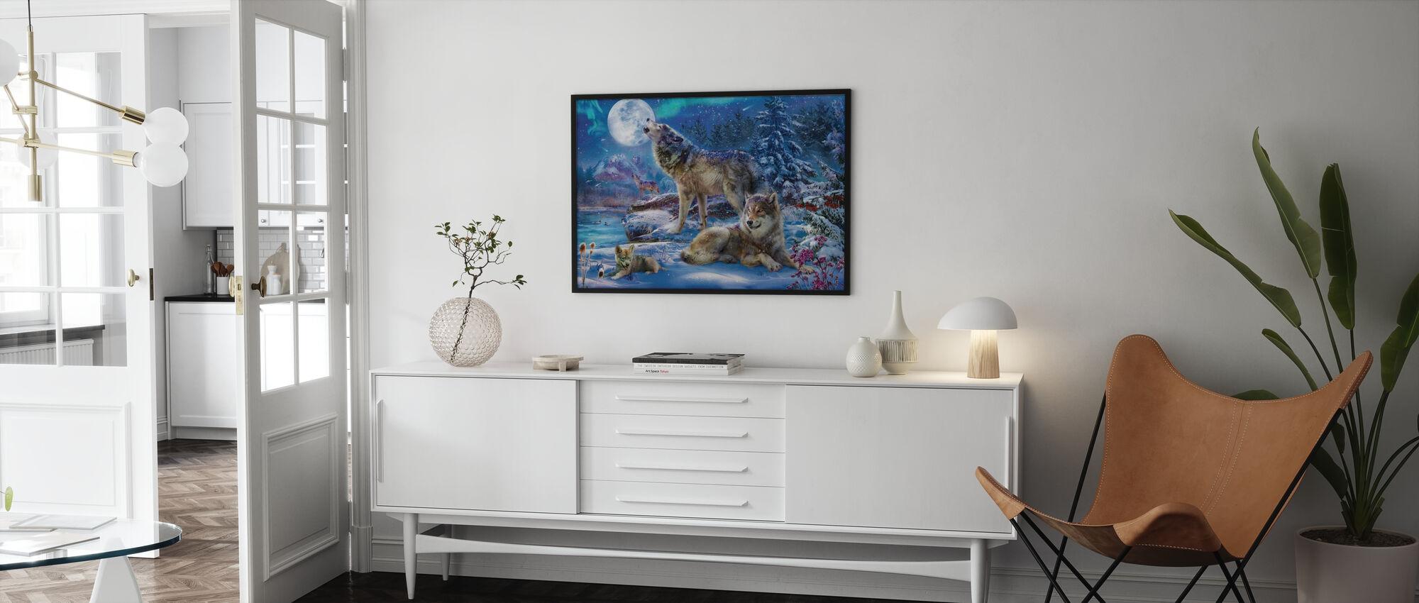 Vinter Wolf Familie - Plakat - Stue