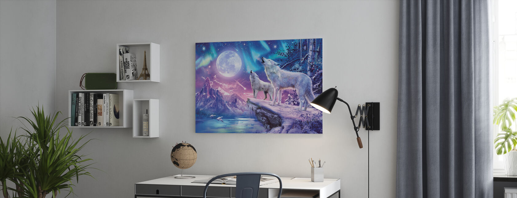 Wolves and Northern Lights - Canvas print - Office