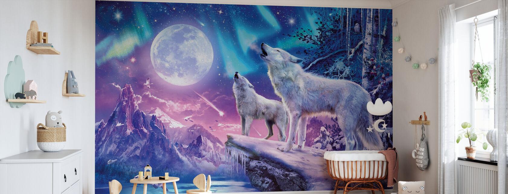 Ulver og nordlys - Tapet - Babyrom