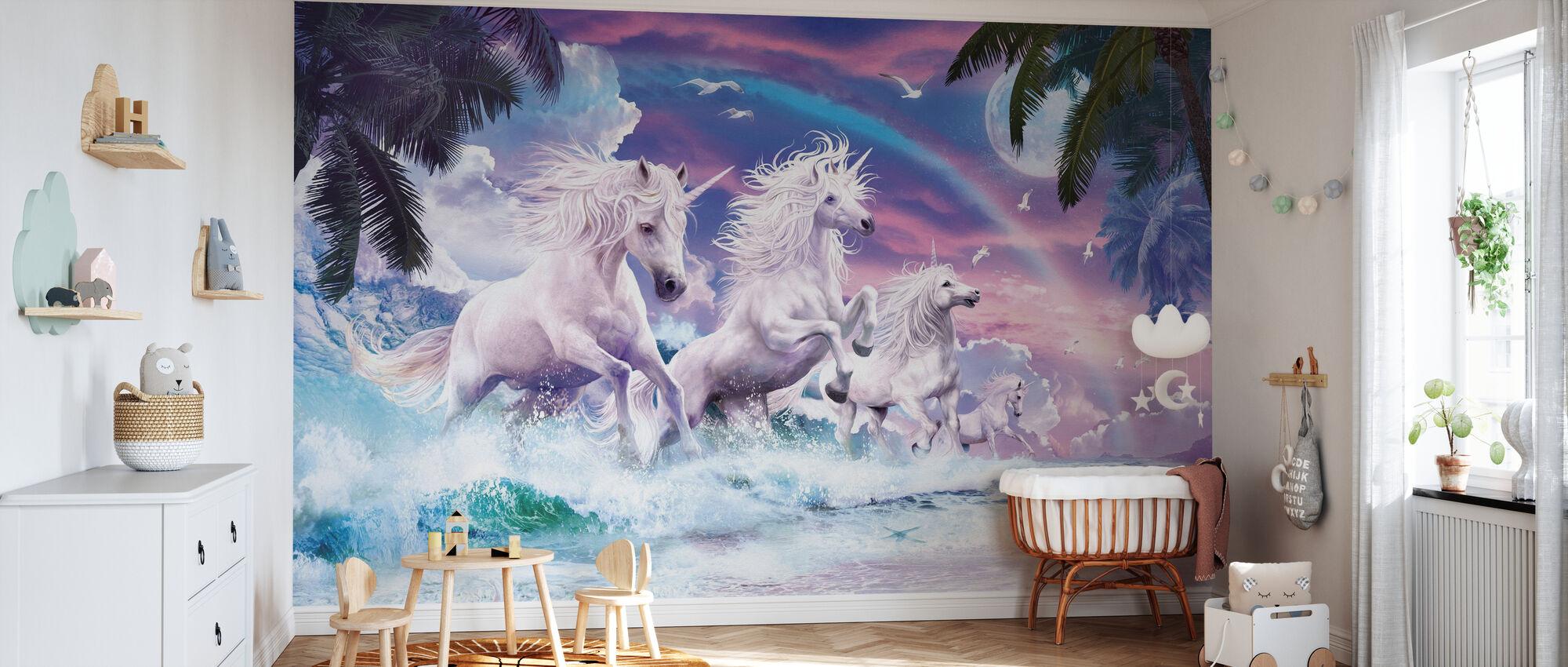 Unicorn Waves - Wallpaper - Nursery