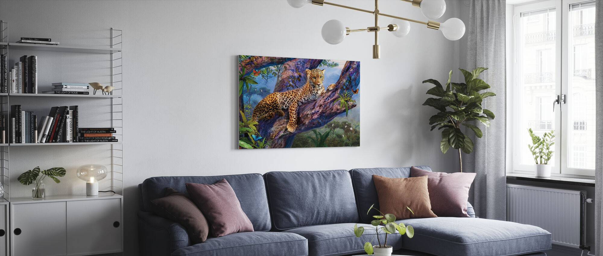 Leopard Avkopplande i träd - Canvastavla - Vardagsrum