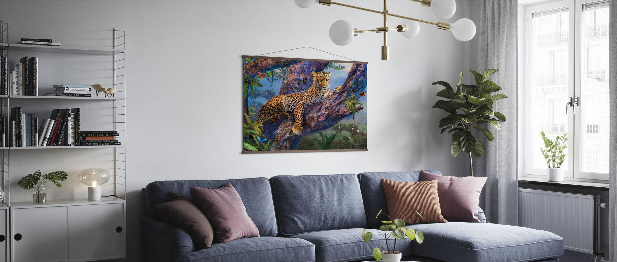 Leopard Relaxing in Tree - Poster - Living Room