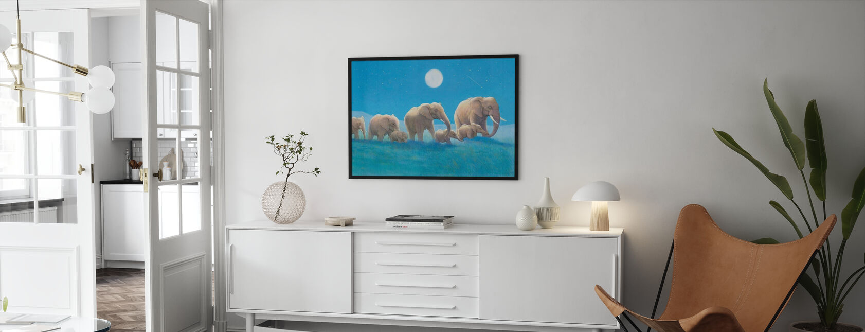 Olifanten lopen - Ingelijste print - Woonkamer