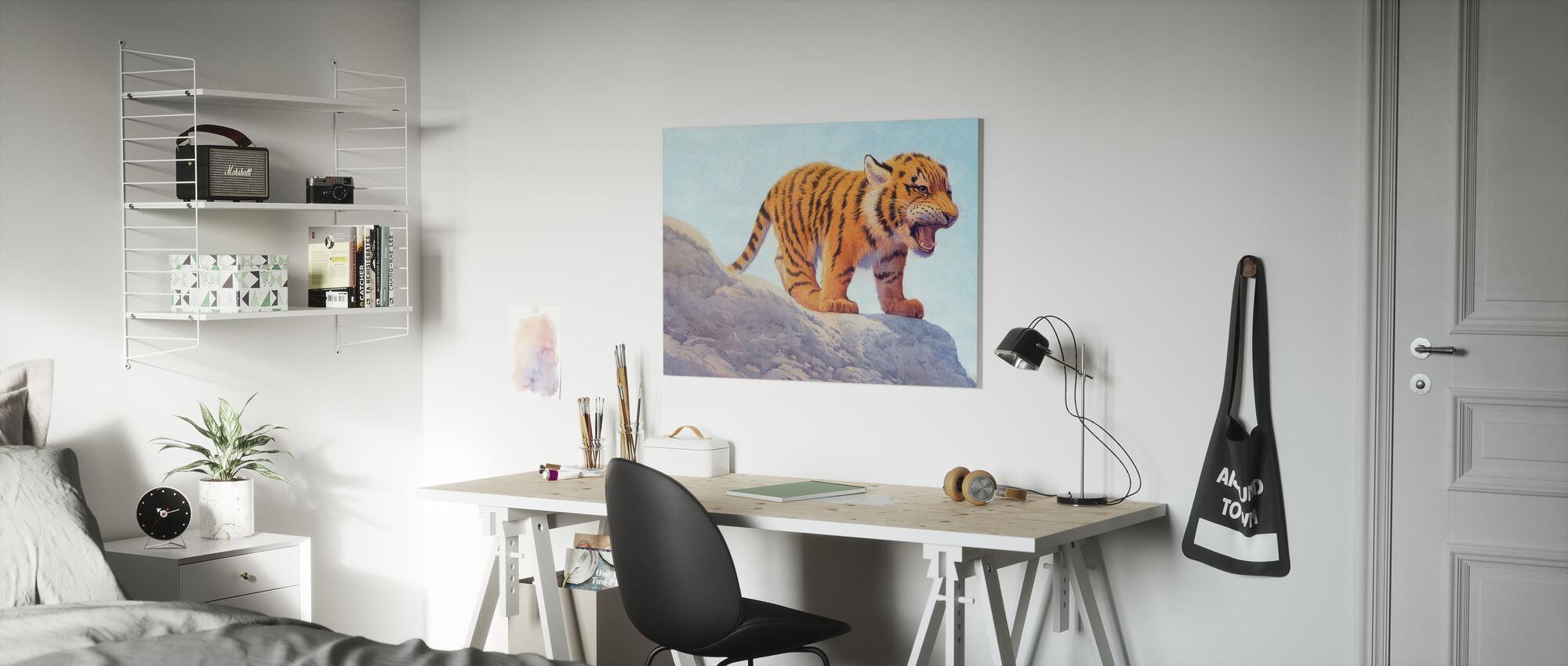 Tijger welp boos - Canvas print - Kinderkamer