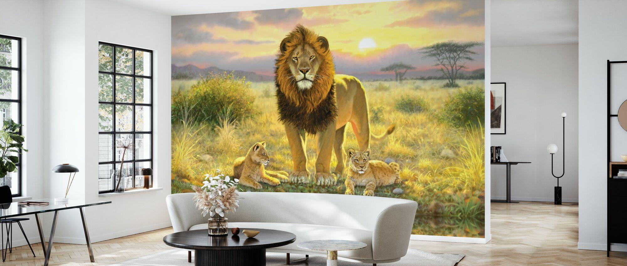 Lion and Twins Landscape - Wallpaper - Living Room