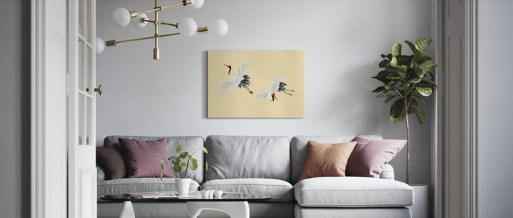 Two Cranes - Canvas print - Living Room