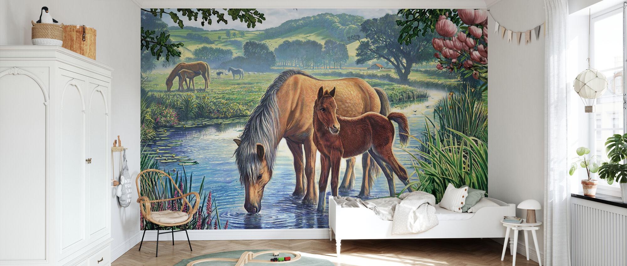 Fälld ponnyer Dricksvatten - Tapet - Barnrum