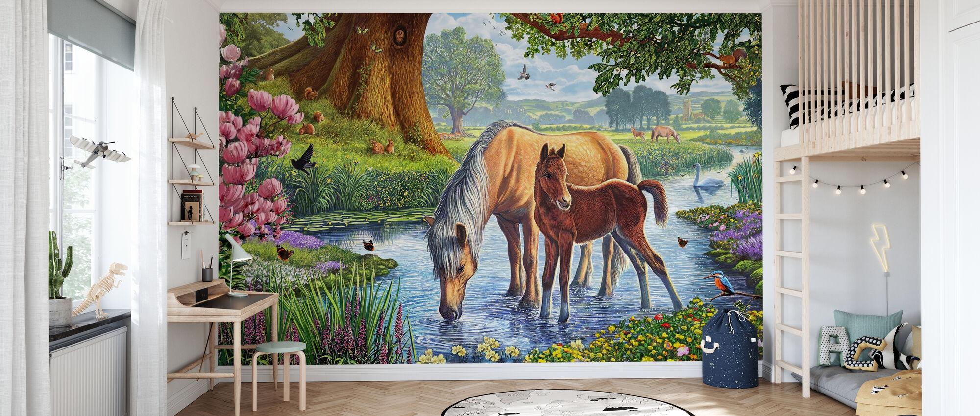 Föll ponnyer - Tapet - Barnrum