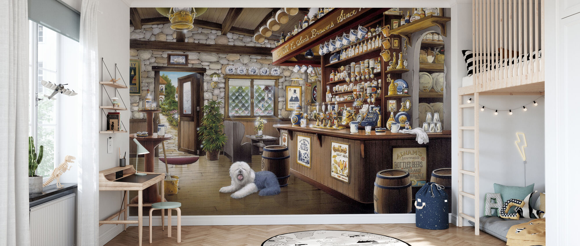 Old Pub with an English Sheepdog - Wallpaper - Kids Room