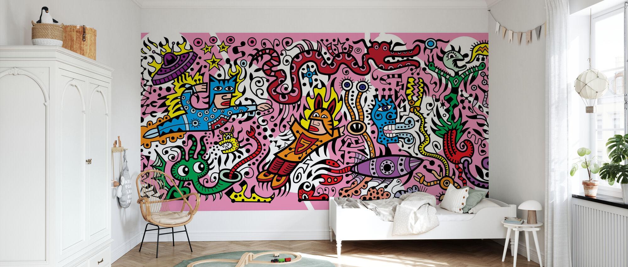 Superhero Fight - Wallpaper - Kids Room