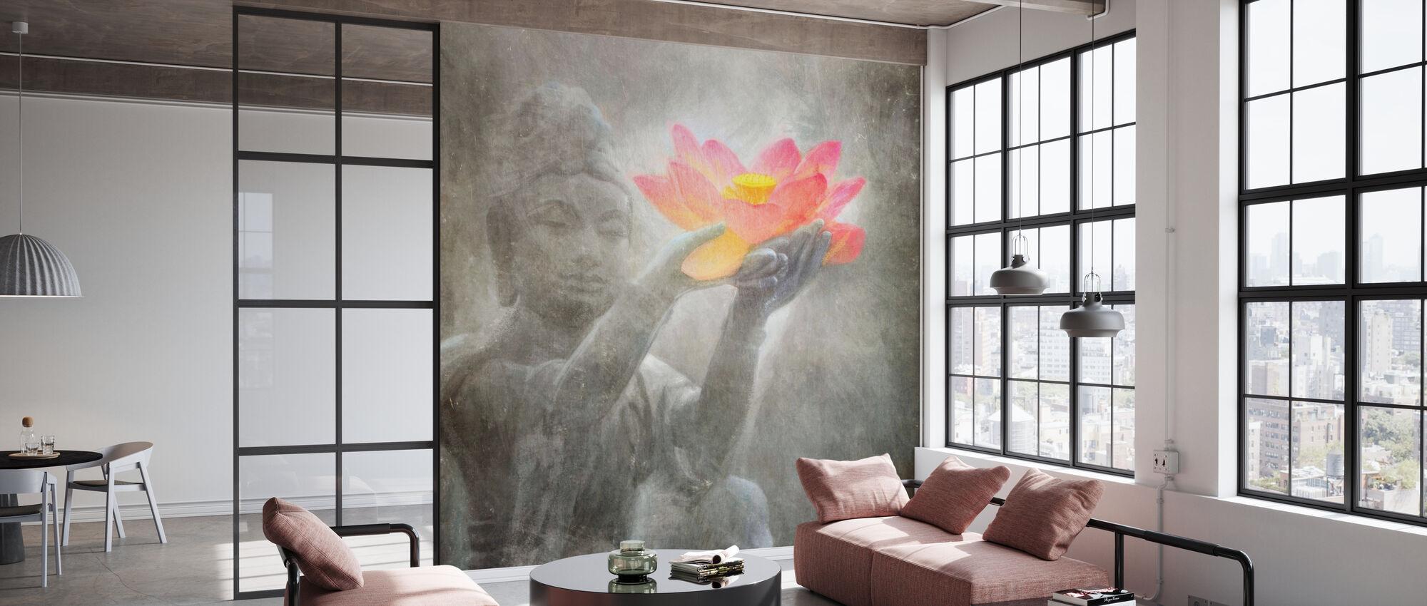 Neutral Lotus Buddha kvadreret - Tapet - Kontor