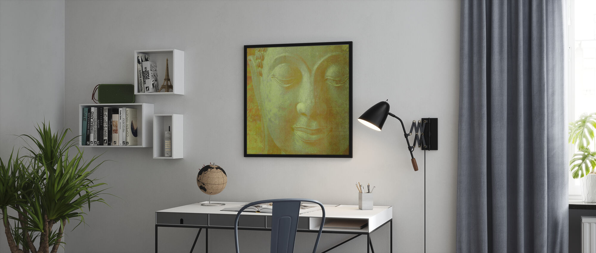 Keltainen Buddha Neliön - Kehystetty kuva - Toimisto