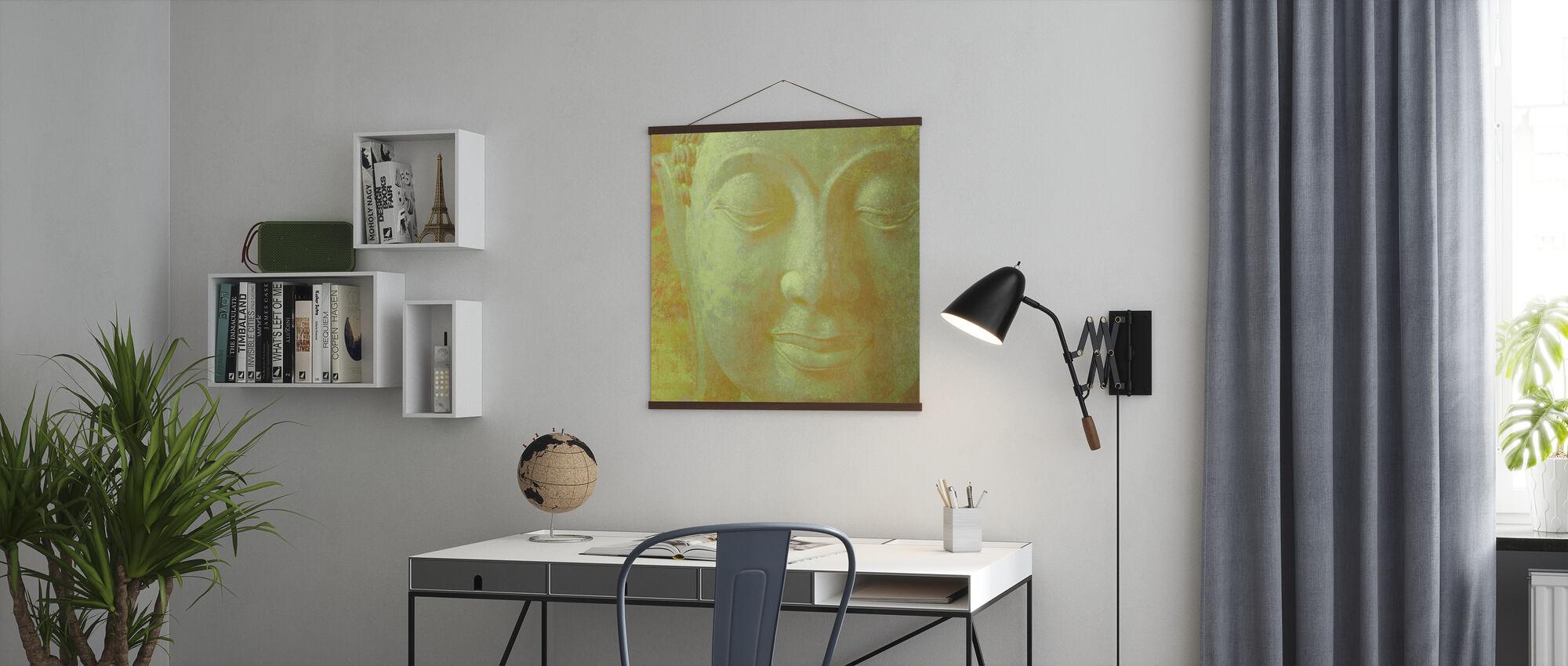 Keltainen Buddha Neliön - Juliste - Toimisto