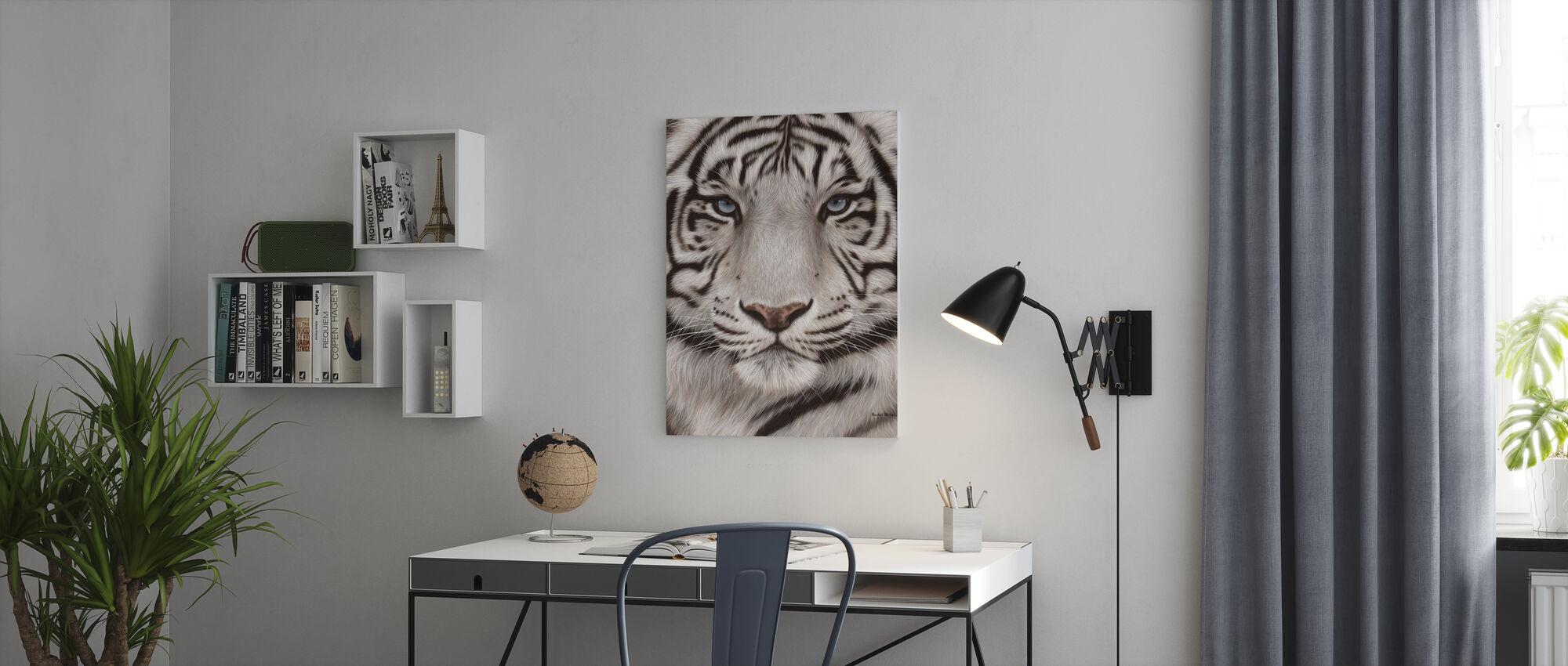 Witte Tijger Gezicht Portret - Canvas print - Kantoor