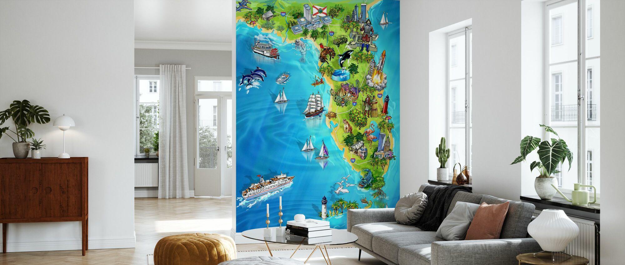 Florida Illustrierte Karte - Tapete - Wohnzimmer