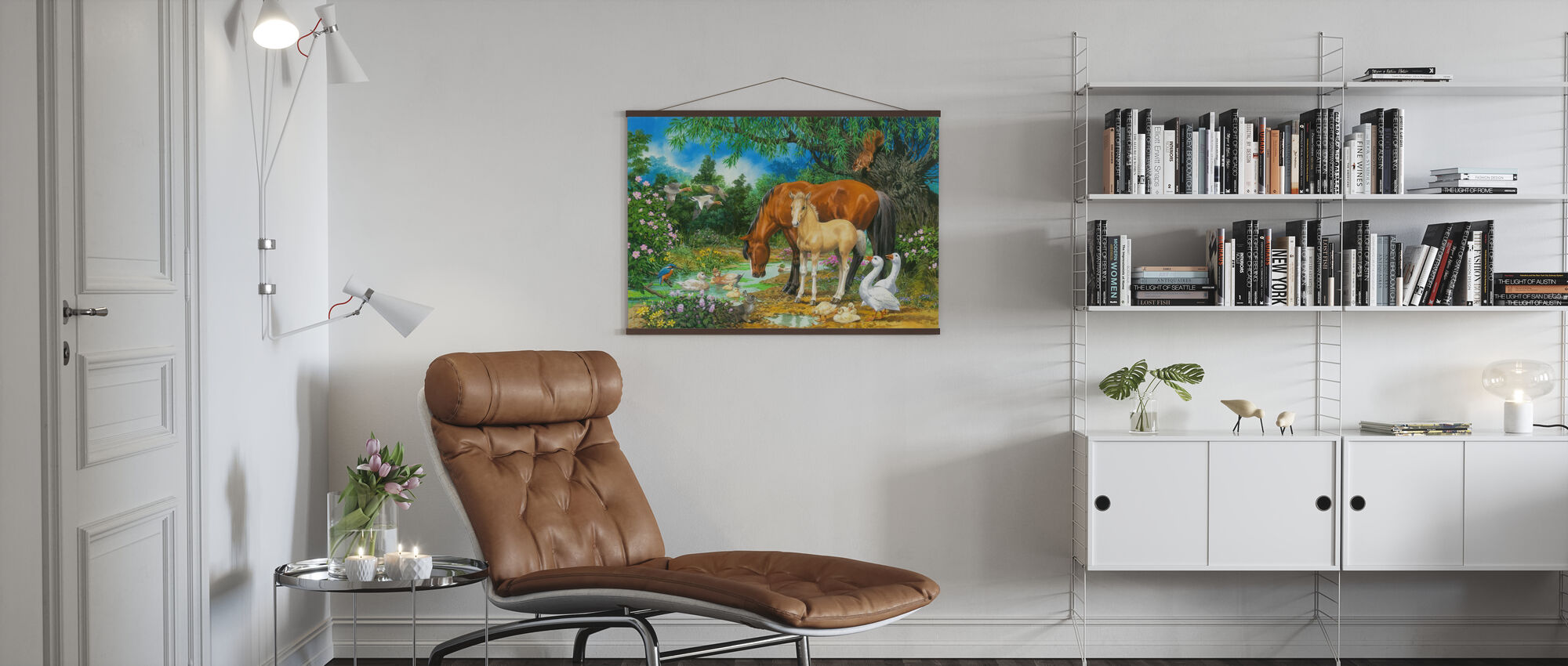 Foal and Mare by the Stream - Poster - Living Room