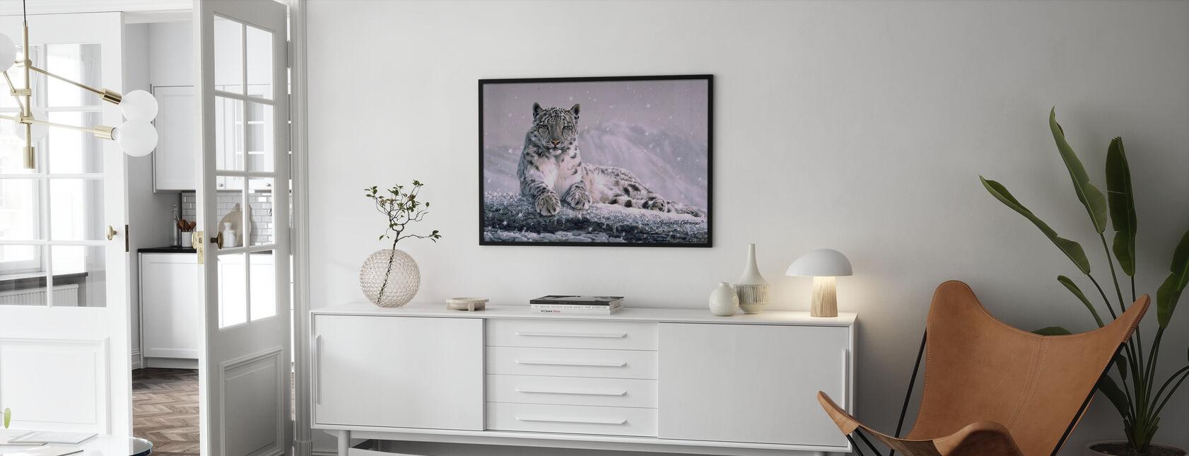 Mountain Snöfall - Inramad tavla - Vardagsrum