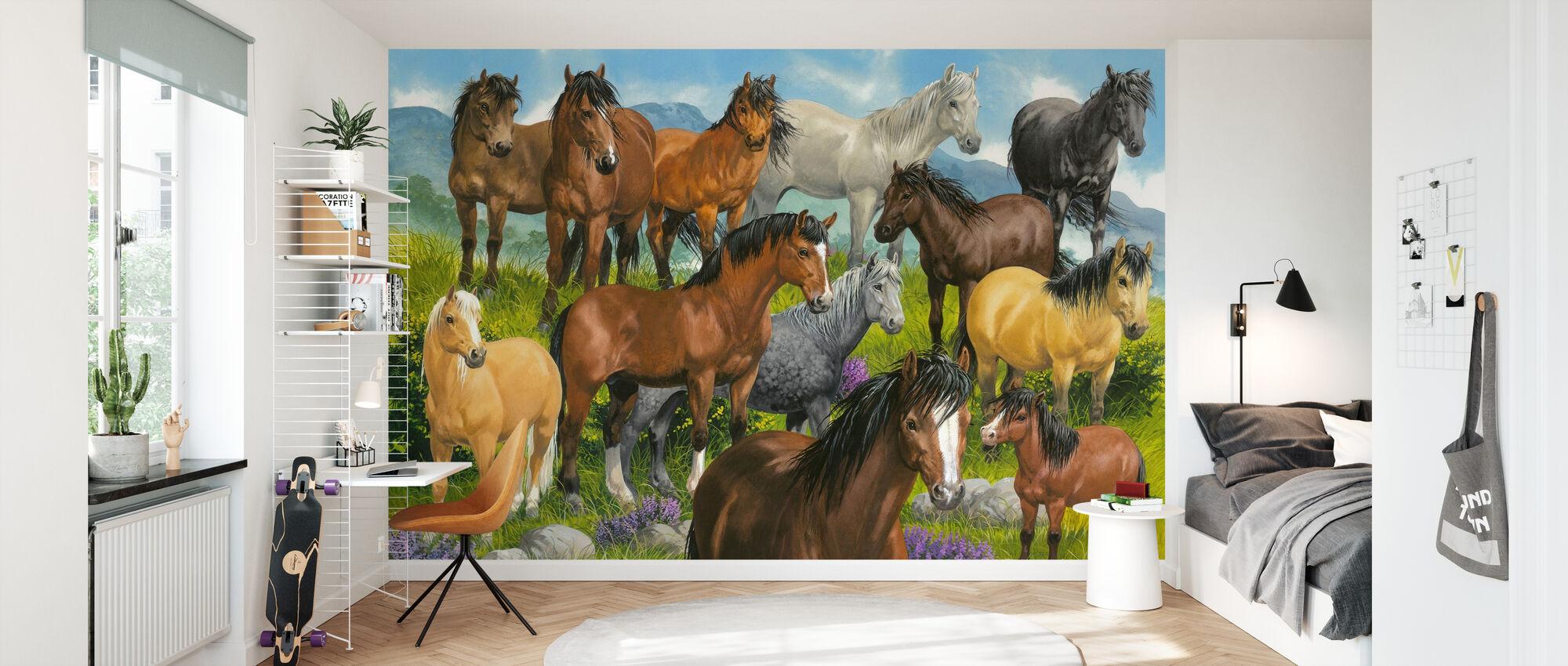 Brittiska ponnyer - Tapet - Barnrum