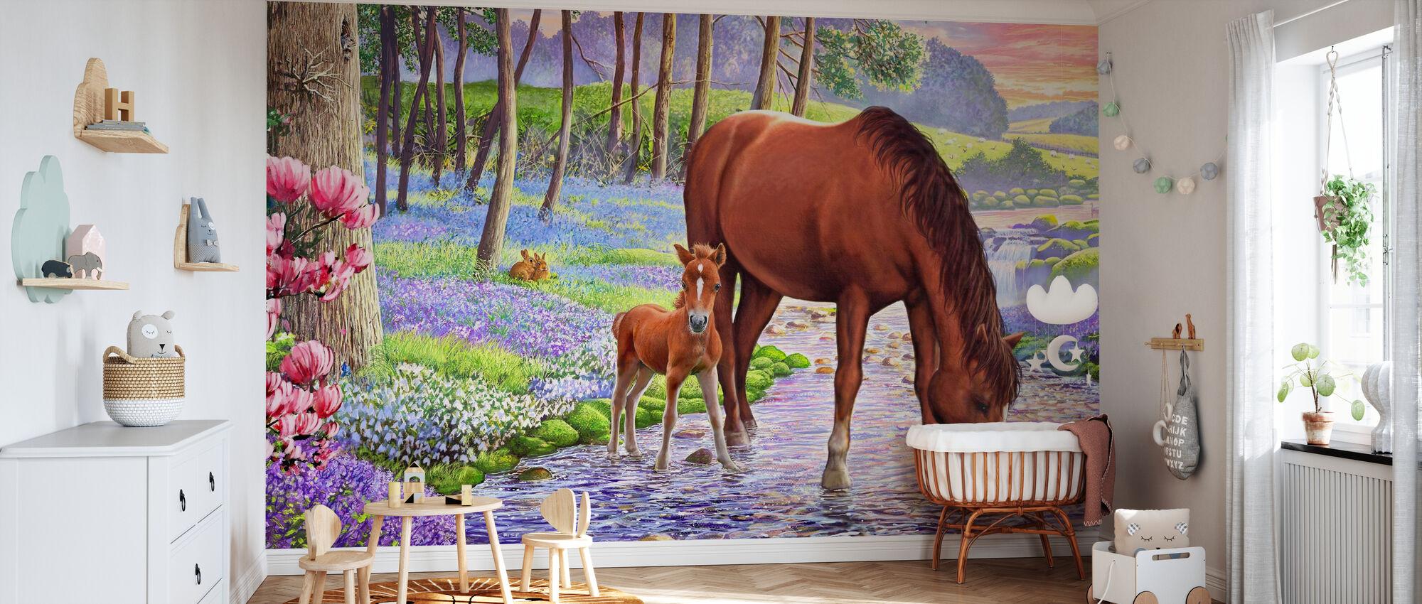 Blåklocka ponnyer - Tapet - Babyrum