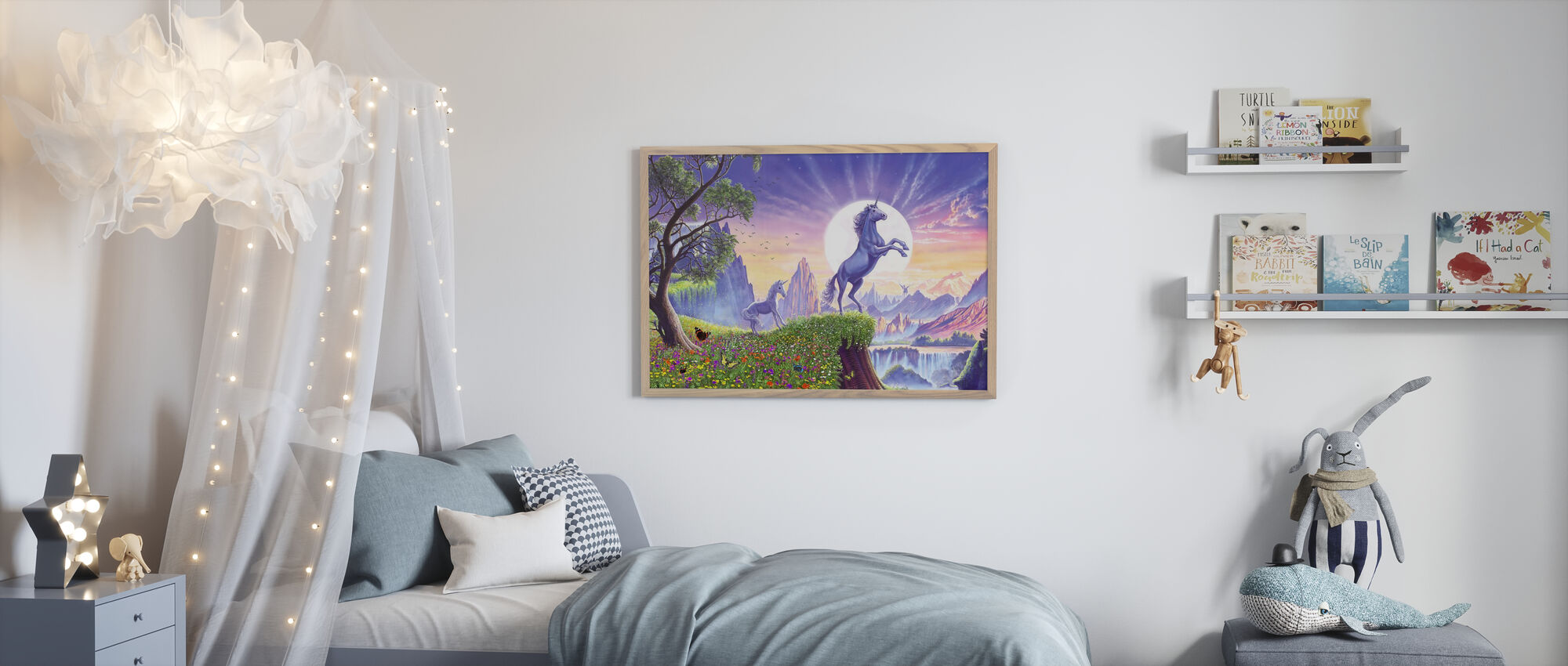 Enhjørning Månen Ravens - Plakat - Barnerom