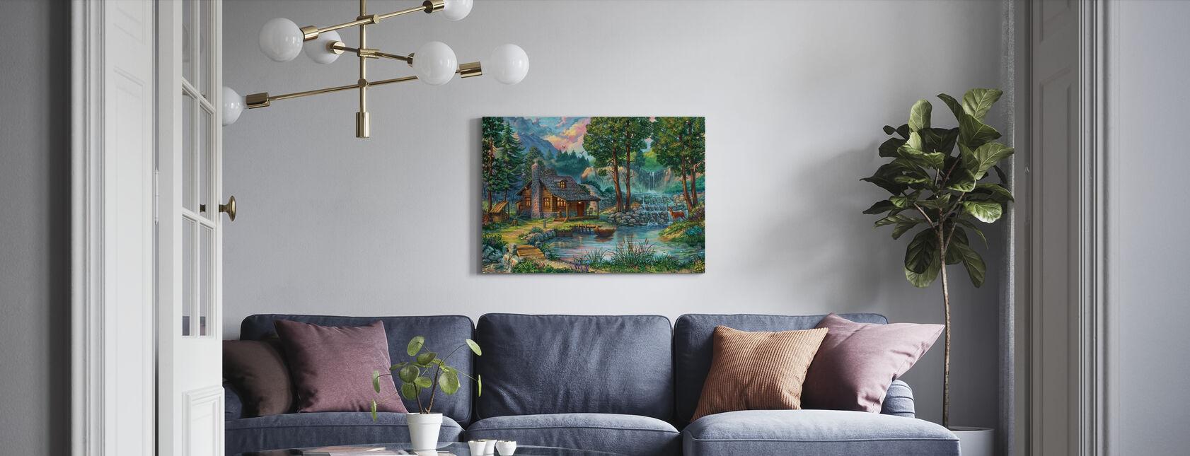 Casa di campagna sul lago - Stampa su tela - Salotto