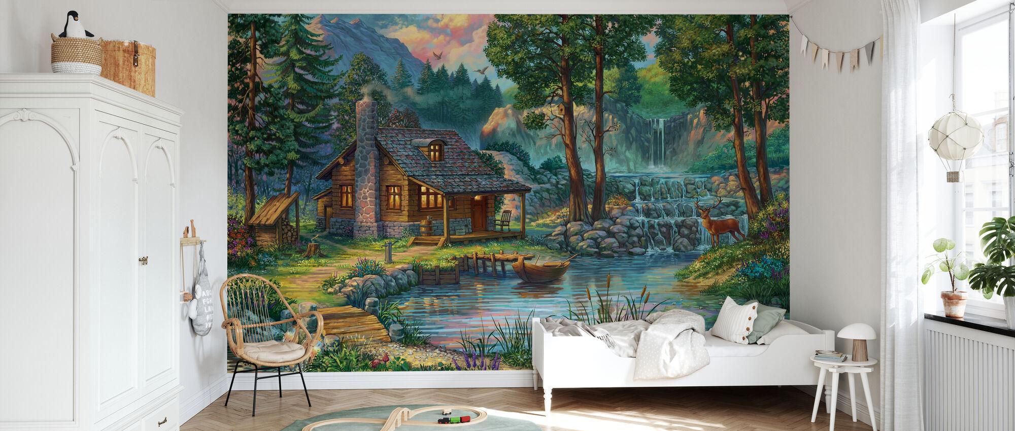 Hus på landet vid sjön - Tapet - Barnrum