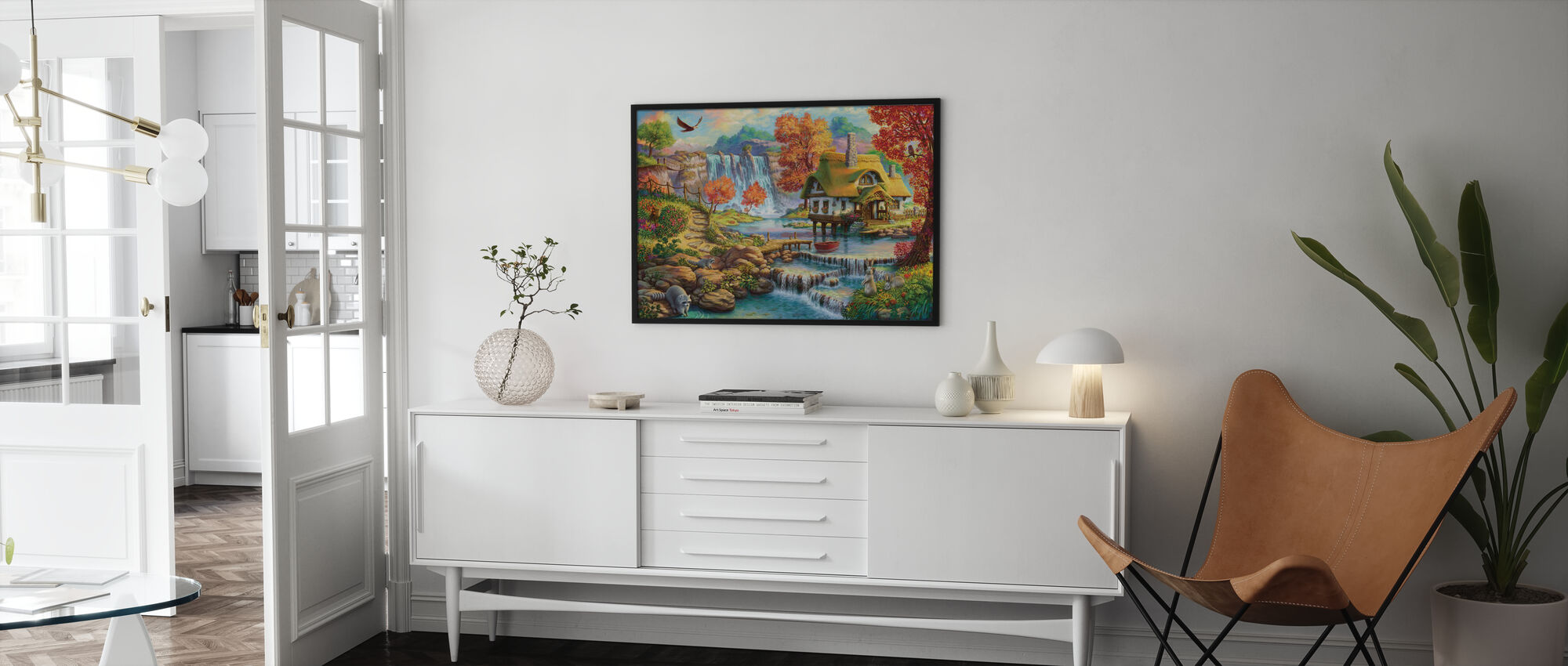 Country House by the Water Fall - Poster - Living Room