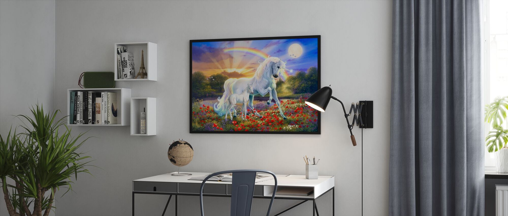 Regnbåge enhörning - Inramad tavla - Kontor