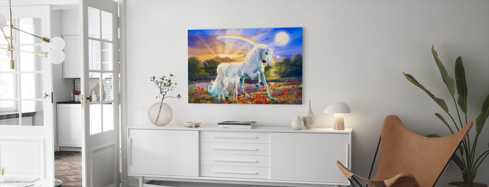 Rainbow Unicorn - Canvas print - Living Room
