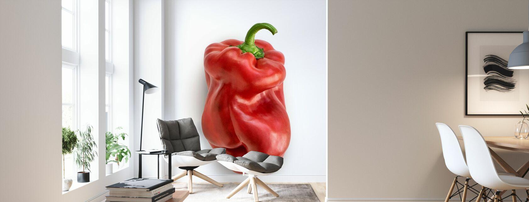 Red on White - Wallpaper - Living Room