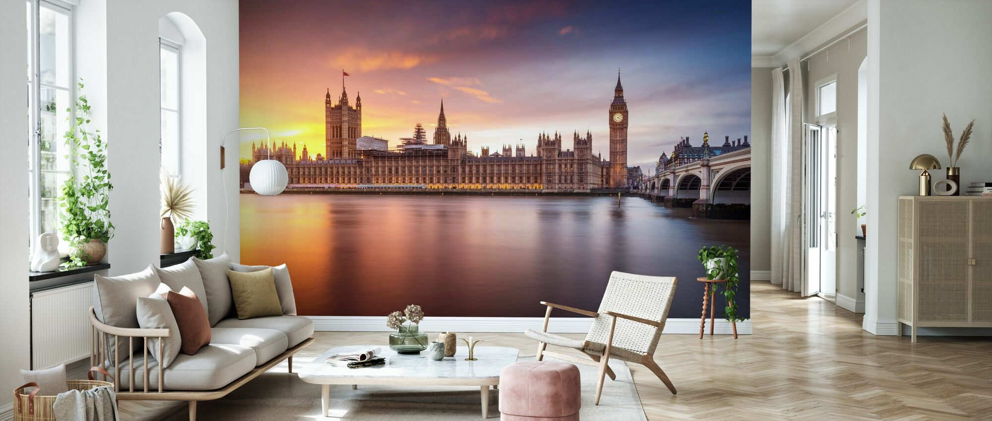 London Palace of Westminster Sunset - Wallpaper - Living Room