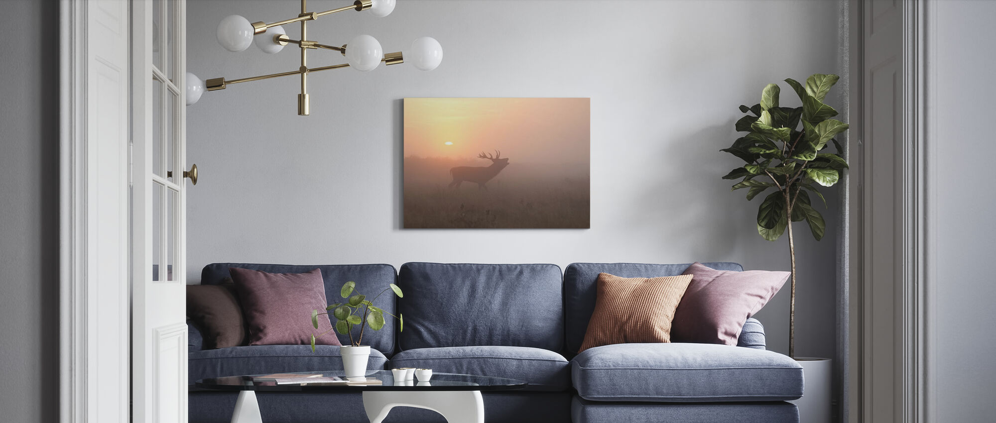 Misty Morning Stag - Canvas print - Living Room
