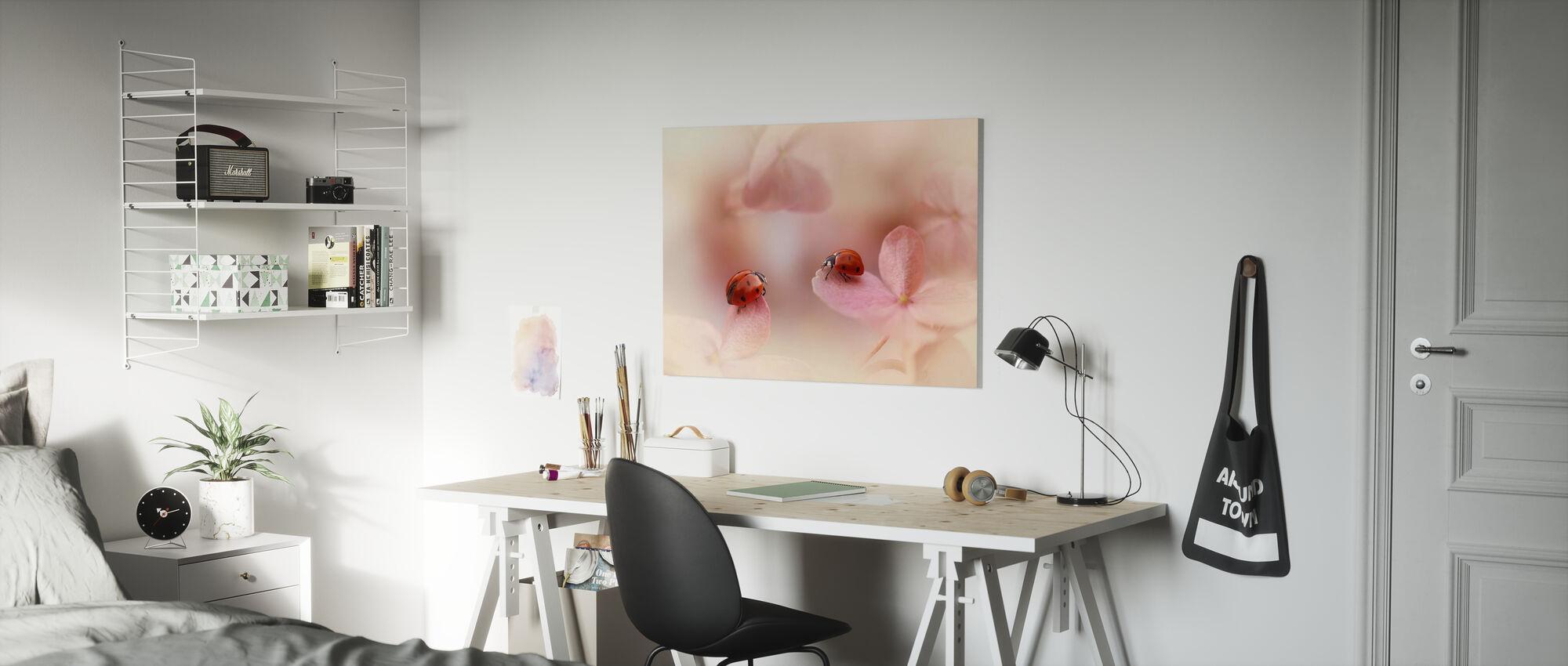 Ladybirds on Pink Hydrangea - Canvas print - Kids Room