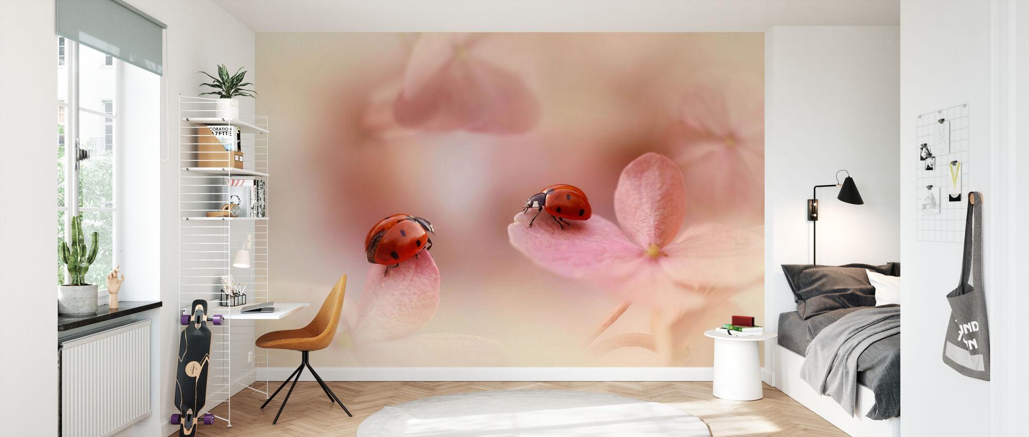 Ladybirds on Pink Hydrangea - Wallpaper - Kids Room