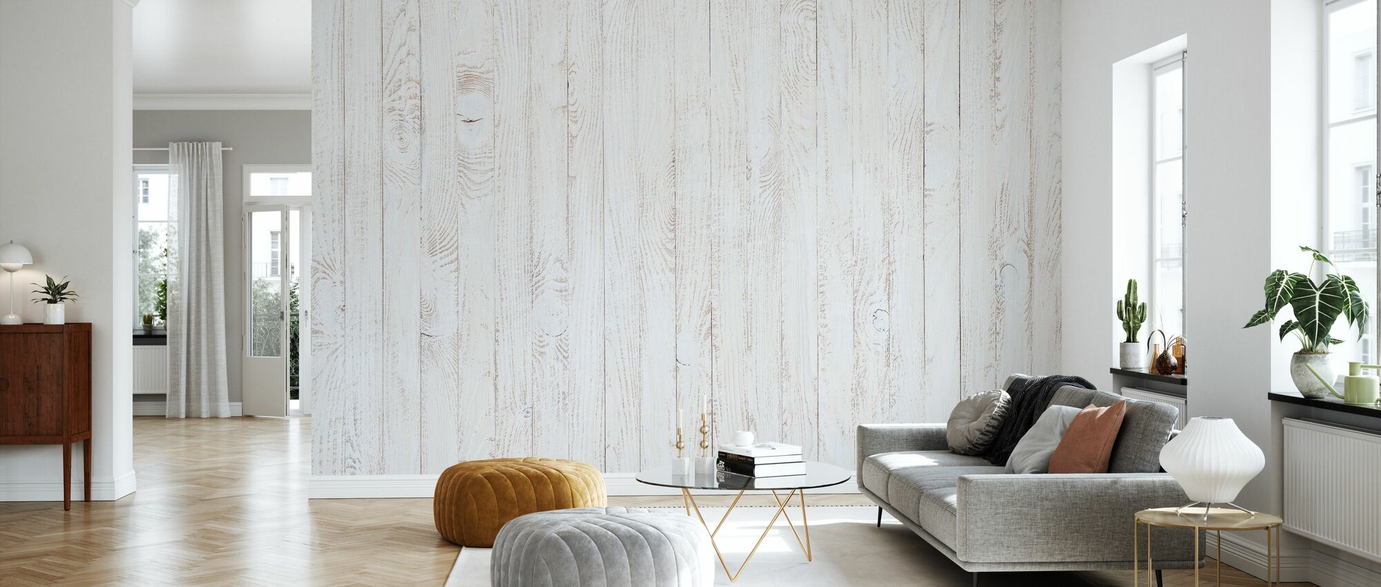 White Stained Wooden Panel - Wallpaper - Living Room