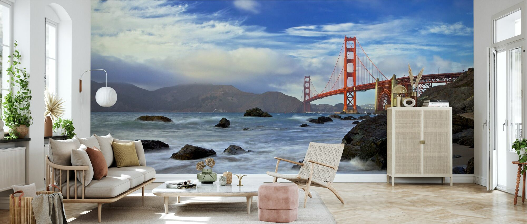 Home wall decor Non woven wallpaper Made to Measure Wall art decals Golden Gate Bridge Low San Francisco Feature Wall