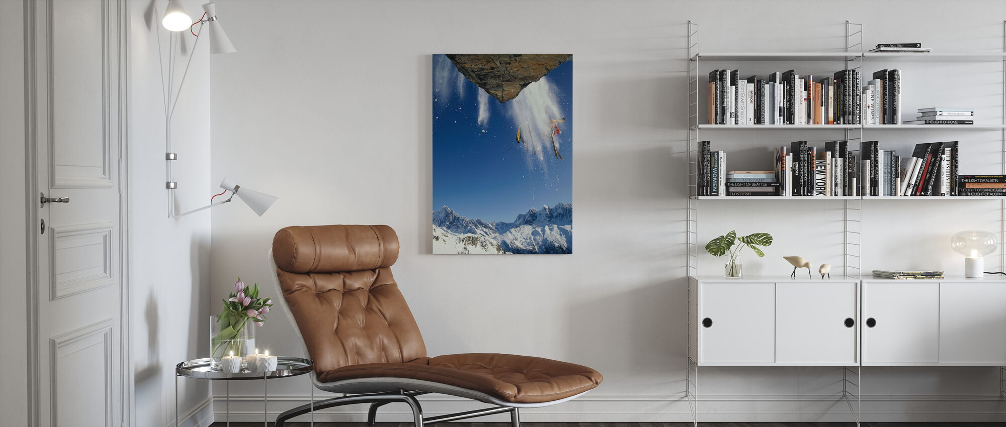 Off Piste Skiing at Mont Blanc - Canvas print - Living Room