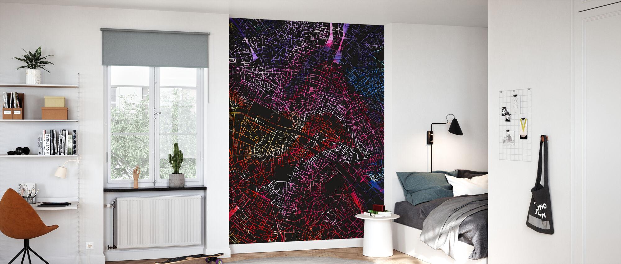 Paris in France - Map - Wallpaper - Kids Room