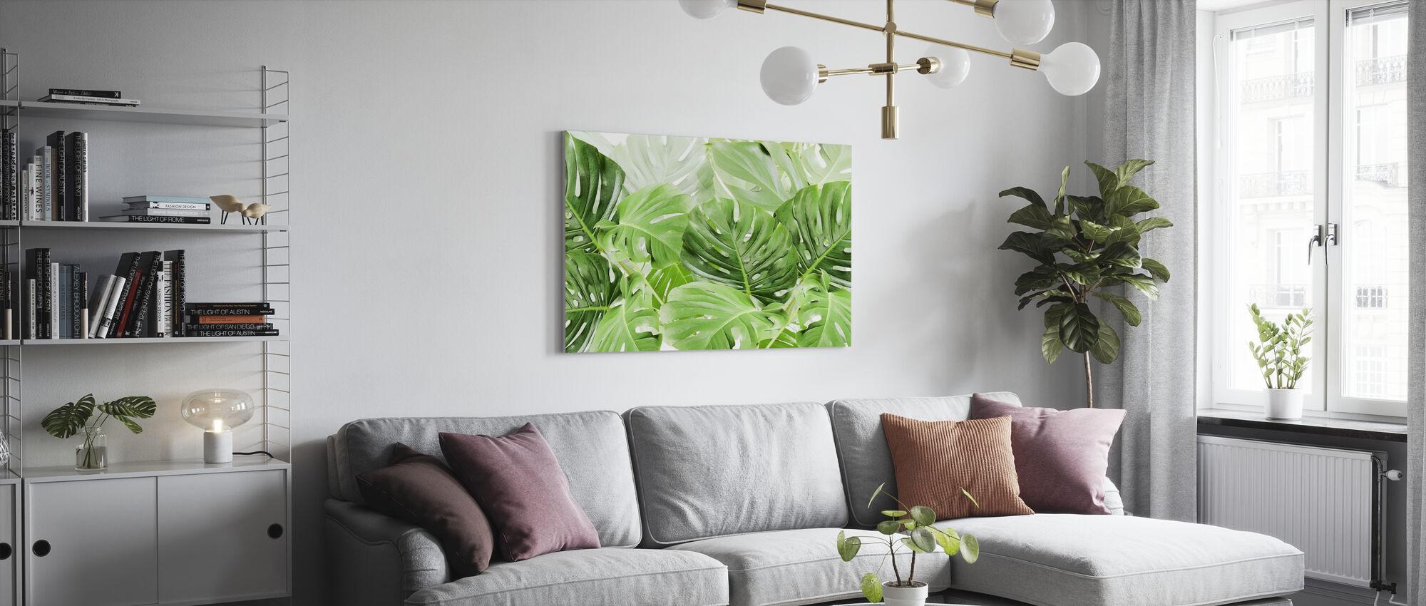 Grønne blade Monstera - Billede på lærred - Stue