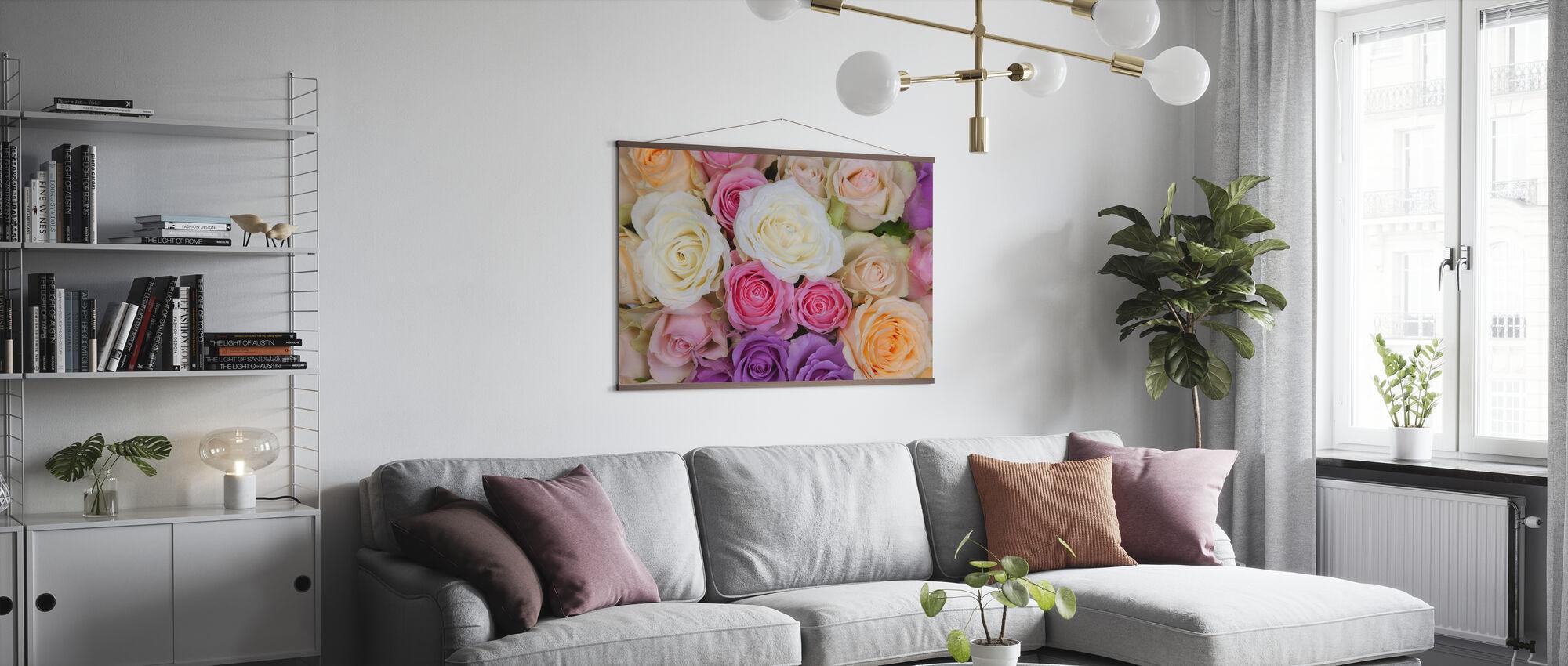 Färgglada rosor - Poster - Vardagsrum