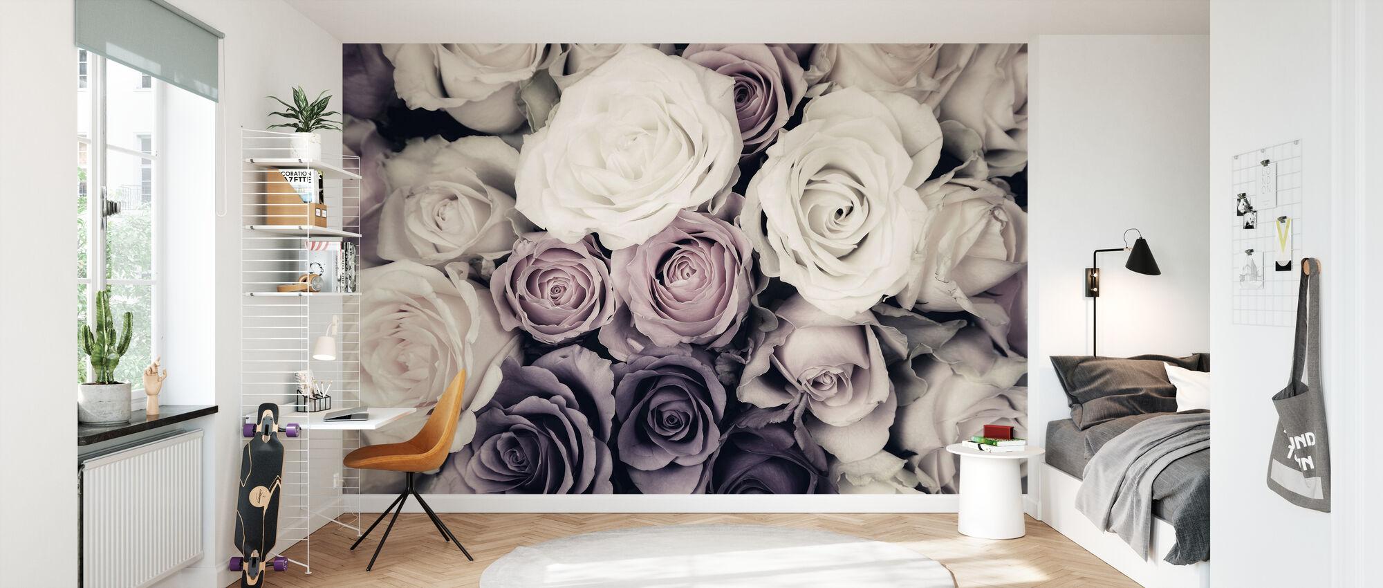 Tummat ruusut - Tapetti - Lastenhuone